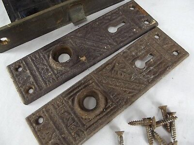 antique door plates 2 backplates VICTORIAN lock CAST IRON skeleton hardware