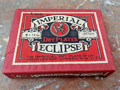 Dry Plates Imperial Eclipse Speed 650 Sealed 9x12 Antique Early Photography Vtg