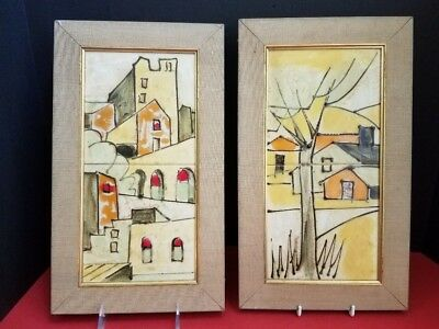 HARRIS STRONG Pair Ceramic TILE PICTURES Buildings # 205, 206 Hand Painted MCM