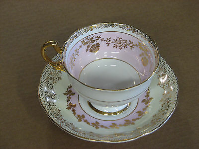 Royal Standard Cup & Saucer, With Colors Pink, Eggshell, White and Gold Leaf 998