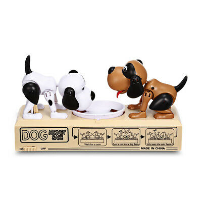 Two Puppy Dogs Piggy Bank Battery Powered Eating Money Cash Coin Saving Box Toy