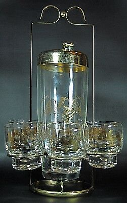 Vintage 7 Piece Gold Gilt Eagle Martini Cocktail Shaker with Glasses & Caddy MCM