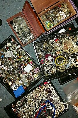 Unsorted unsearched vintage estate jewelry lot small flat rate box full