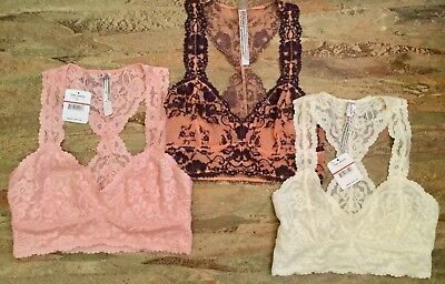 Lot Of 3 New Intimately Free People Lace Racerback Crop Bras Xs (Nwt)