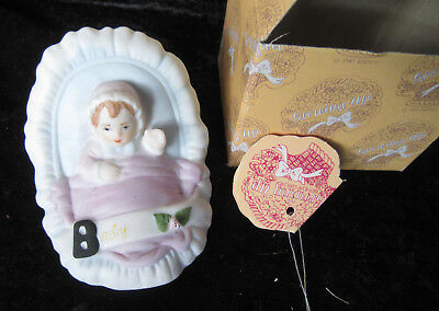 Enesco Growing Up porcelain baby in cradle w box w tag