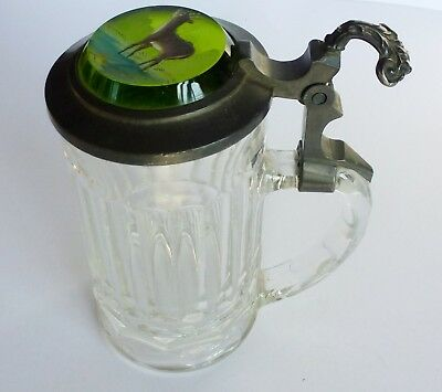 VINTAGE Hand Painted GERMAN BEER STEIN GREEN GLASS AND PEWTER TOP DEER MOTIF