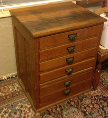 Solid Oak chest of drawers  , music,tools, spools, files?
