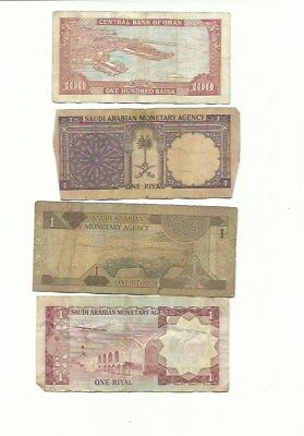 Lot Of 8 Middle East World Banknotes Foreign Paper Money