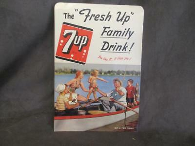 Vintage 1950 7-UP Cardboard Advertising Sign FRESH UP - Family Fishing    el5