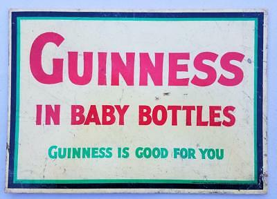 """Vintage Guinness Standup Bar Sign """"Guinness in Baby Bottles"""" - Is Good For You"""