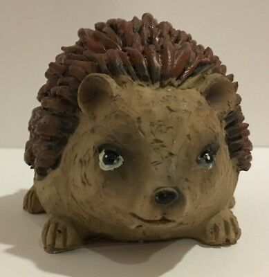 Happy Hedgehog Resin Figurine Statue Brown Tan Garden Yard Art Cute Artsy