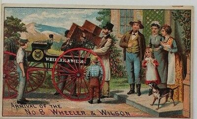 1880s Victorian Trade Card Wheeler Wilson No 8 Sewing Machine Delivery Brockt MA