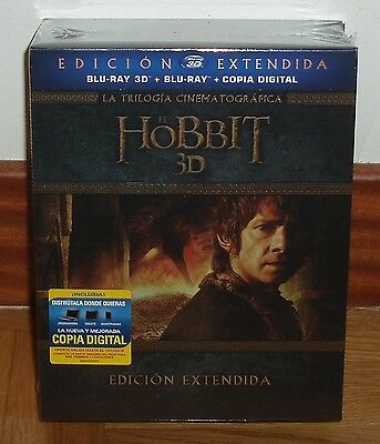 The Hobbit Trilogy 3D Edition Extended 6 Blu-Ray 3D+9 Blu-Ray New Sealed