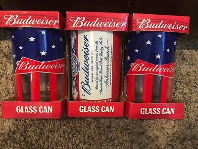 Lot Of 3 NEW Genuine BUDWEISER Glass Cans-10oz