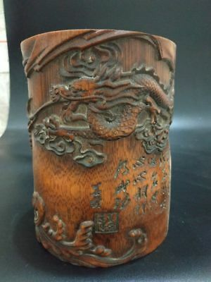 Rare Chinese Bamboo Pen holder Hand Carved Dragon & Lohan Brush Pot