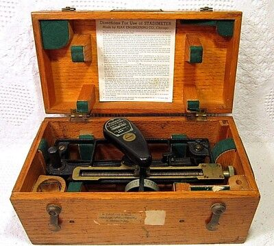 Vintage 1942 WWII US Navy BuShips Stadimeter - Ajax Engineering - Oak/Brass Case
