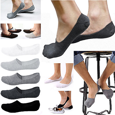 5 Pairs Bamboo Fiber Men Women Invisible Low Cut Boats Socks No Show Non slip