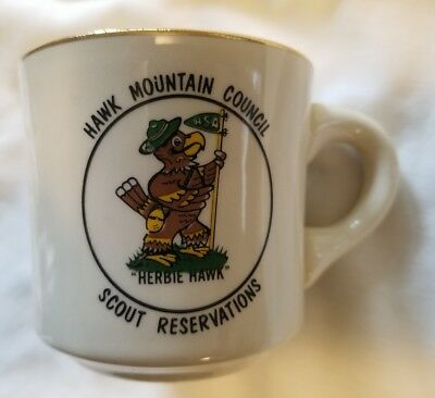Vtg Hawk Mountain Council Scout Reservations BSA Herbie Hawk Coffee Cup Mug Rare