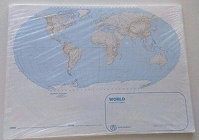 "NEW Classroom Paper Outline World Maps (11"" x 15"") Shrink Wrapped Pack of 50"