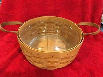 1993 LONGABERGER Handwoven Round BASKET w/ Leather Handles Plastic Protector USA