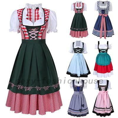 1X Dirndl Dress German Oktoberfest Bavarian Beer Wench Costume Maid Outfit Fancy