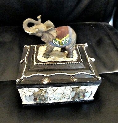 Elephant Box Home Decor Circus Elephants Adorn With One On Top Trunk Raised 6.5
