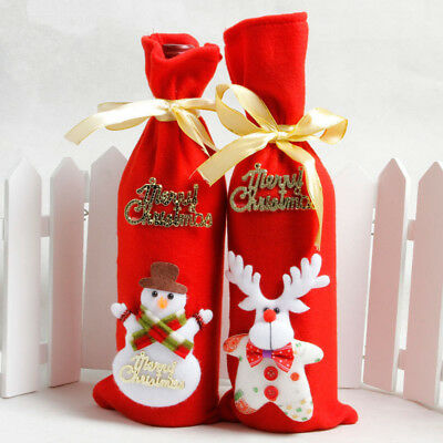 Merry Christmas Wine Bottle Cover Bags Snowman Santa Claus Xmas Dinner Party Red