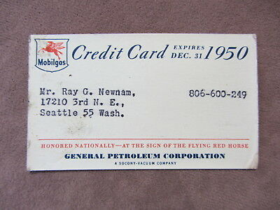 Vintage 1950 Mobilgas Credit Card Flying Red Horse Logo General Petroleum Corp