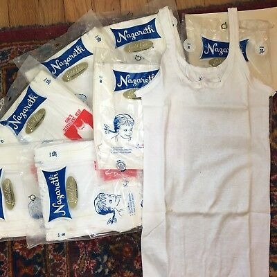 Lot Of 7 Girls Undershirts Camisole Tee Tank White Cotton 1960s Vintage Size 8