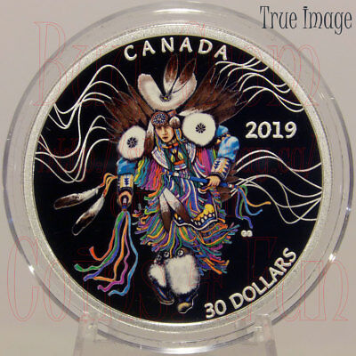2019 - Powwow Fancy Dance - $30 2 OZ Pure Silver Coloured Coin - Canada