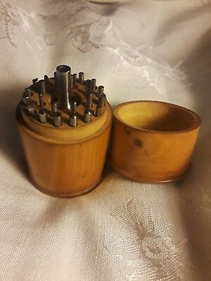 Beautiful Treen Antique French Watch Repair Tools Wood Tumbler Case