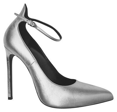 2fe53321b1e Yves SAINT LAURENT YSL Heels Leather pointy 38 SILVER ankle Strap Pumps 38  7.5 8