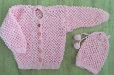 Baby Girl Cardigan Hand Made Pink Size 1 Year 12-18 Months New With Hat