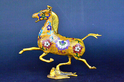China collectible  Rare Old Cloisonne Chinese Exquisite Hand-carved Horse Statue