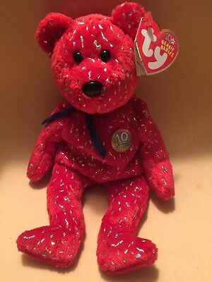Ty Beanie Babie Decade Red Bear With Silver Confetti