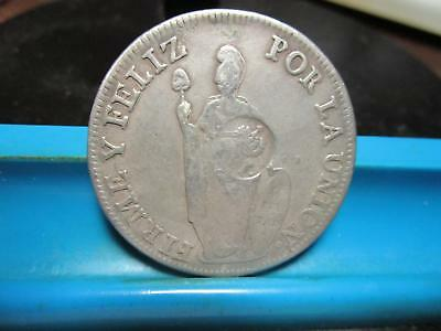 1834  Philippine 8 Reales - Y!! C/S On Peru Host Coin - Silver - KM-138.4  (G-3)