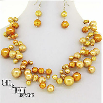 Clearance Orange Pearl Prom Bridesmaid Wedding Formal Necklace Jewelry Set