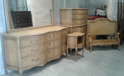 Vintage 5 pc.Drexel Cherry Wood Riviera Bedroom Furniture Set French Provincial