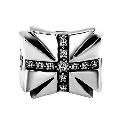 925 Sterling Silver Medieval Cross with CZ Stone Men's Ring