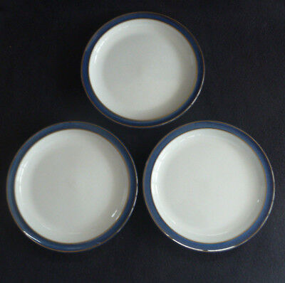 Set THREE Denby Stoneware Pottery Side Plates Imperial Blue
