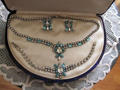 JAY FLEX Vintage Sterling Silver Parure Decorated With Blue And Clear Rhinestone