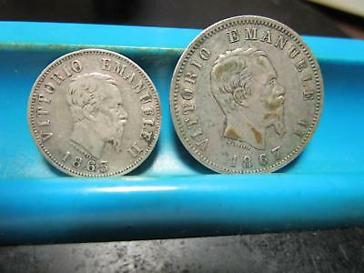 Italy - 1853 - 50 Cent & 1867 - One Lira - Silver           (32)