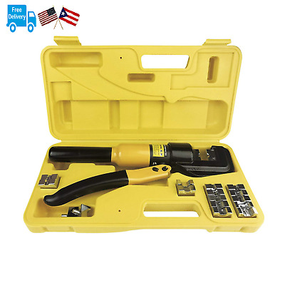 10 Tons Hydraulic Wire Battery Cable Lug Terminal Crimper Crimping Tool 9 Dies