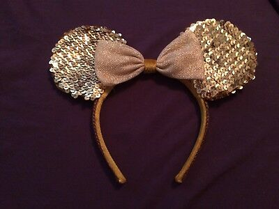 Disney World Disneyland Minnie Mouse Gold Ears Headband Sequin Bow Sparkle