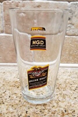 Miller Genuine Draft MGD Beer Bottle Pint Glass Collectible