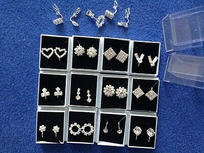 JOBLOT-12 pairs of  CLIP ON crystal diamante earrings. Gift boxed.Silver plated.