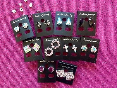 JOBLOT-10 pairs of colour/crystal diamante stud earrings.Silver plated.UK made.