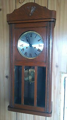 1930'S Oak Cased German Striking Wall Clock Fwo Haller Movement