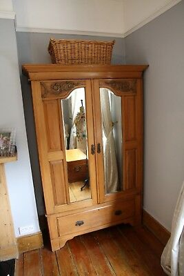 Vintage Large Wardrobe with Mirror and Drawer