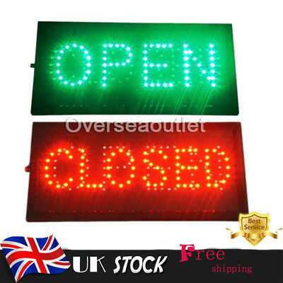 """Bright LED 2 in1 Open & Closed Store Shop Business Sign 19x10"""" Display Neon"""